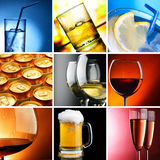 Alcohol. Set of different alcohol drinks photos Royalty Free Stock Images