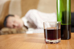 Alcohol. The man and the problem of alcohol stock photography