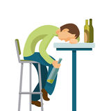 Alcohol abuse concept. Guy has drunk too much. Colorful vector flat illustration Stock Photography