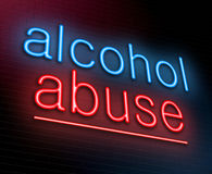 Alcohol abuse concept. Illustration depicting an illuminated neon sign with an alcohol abuse concept Royalty Free Stock Image