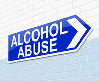 Alcohol abuse concept. Illustration depicting a sign with an alcohol abuse concept Royalty Free Stock Photography