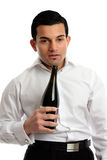 Alcohol Abuse - drunk man holding bottle wine Stock Photo