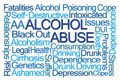 Alcohol Abuse Word Cloud. On White Background Stock Images