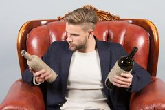 Alcohol addiction, bad habits. Man choose wine to drink. Guy with bottles of wine sit on brown leather armchair. Choice, decision concept Stock Images