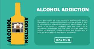 Alcohol addiction. Banner. Flat illustration Royalty Free Stock Photo