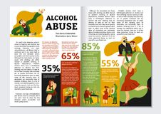 Alcohol Addiction Magazine Layout. With abuse symbols infographics flat vector illustration stock illustration
