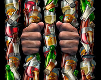 Alcohol Addiction. And trapped by alcoholism concept as the hands of a drunk prisoner holding a group of liquor bottles and glasses shaped as prison bars from a vector illustration