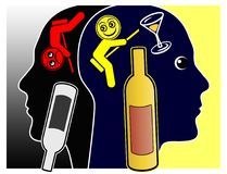 Alcohol affects the Mood. Alcoholic drinks may cause either pleasant feelings or depressions Royalty Free Stock Photography