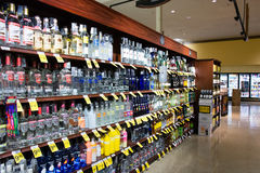 Alcohol Aisle in Safeway. Typical alcohol aisle in Safeway supermarket Royalty Free Stock Photography