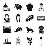 Alcohol, animal, atelier and other web icon in black style.   Royalty Free Stock Images