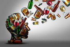 Alcohol Awareness and Education. Alcohol education and awareness of the risk or dangers of drink consumption as a 3D illustration Stock Photos