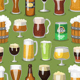 Alcohol beer ale glass vector illustration refreshment brewery and party beverage mug frosty craft drink seamless Stock Photography