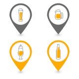 Alcohol or Beer Bar Location Pin,  Vector Icon Set Stock Photos
