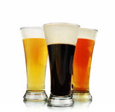 Alcohol Beer Glasses on White Royalty Free Stock Image