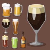 Alcohol beer vector illustration refreshment brewery and party dark beverage mug frosty craft drink. Stock Images
