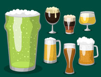 Alcohol beer vector illustration refreshment brewery and party dark beverage mug frosty craft drink. Royalty Free Stock Photography