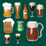 Alcohol beer vector illustration refreshment brewery and party dark beverage mug frosty craft drink. Royalty Free Stock Photo