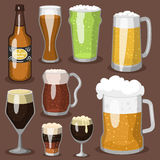 Alcohol beer vector illustration refreshment brewery and party dark beverage mug frosty craft drink. Alcohol beer vector transparent glass illustration Stock Image