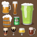 Alcohol beer vector illustration refreshment brewery and party dark beverage mug frosty craft drink. Stock Photography