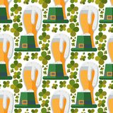 Beer glass vector seamless pattern clover patrick celebration refreshment brewery oktoberfest background. Alcohol beer vector transparent glass illustration Royalty Free Stock Images