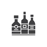 Alcohol beverage bottles icon vector, filled flat sign, solid pictogram isolated on white. Stock Photo