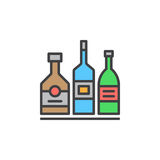 Alcohol beverage bottles line icon, filled outline vector sign, linear colorful pictogram isolated on white. Royalty Free Stock Images