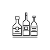 Alcohol beverage bottles line icon, outline vector sign, linear pictogram isolated on white. Bar symbol, logo illustration stock illustration