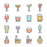 Alcohol Beverage Icon Bold Stroke with Color. On White Background. Vector Illustration Royalty Free Stock Photography