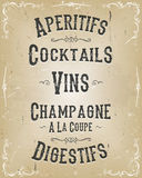 Alcohol And Beverage Poster Menu Royalty Free Stock Images
