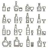 Alcohol beverages art icons or alcoholic drinks thin line signs Stock Images