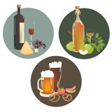 Alcohol beverages and snacks Stock Photography