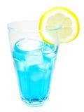 Alcohol blue curacao cocktail with lemon Stock Photos