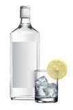Alcohol bottle. Blank label vodka with glass and lemon Royalty Free Stock Photography