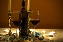Alcohol, Bottle, Candlelight Stock Photo