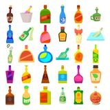 Alcohol bottle icon set, cartoon style. Alcohol bottle icon set. Cartoon set of alcohol bottle vector icons for web design isolated on white background Stock Photography