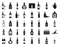 Alcohol bottle icon set, simple style. Alcohol bottle icon set. Simple set of alcohol bottle vector icons for web design isolated on white background Stock Image