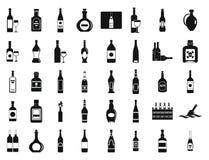 Alcohol bottle icon set, simple style Stock Image