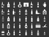 Alcohol bottle icon set grey vector. Alcohol bottle icon set vector white isolated on grey background Stock Illustration