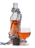 Alcohol bottle and lock Stock Image