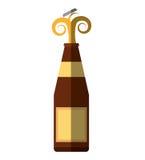 Alcohol bottle pouring liquid beverage cap splash shadow Royalty Free Stock Photography