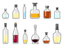 Alcohol bottle set Royalty Free Stock Photography