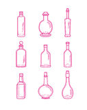 Alcohol bottles, alcohol illustration, alcohol collection. Alcohol bottles icons - vodka champagne wine whiskey beer brandy tequila cognac liquor martini Royalty Free Stock Photos