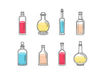Alcohol bottles, alcohol illustration, alcohol collection. Alcohol bottles icons - vodka champagne wine whiskey beer brandy tequila cognac liquor martini Stock Image
