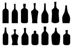 Alcohol bottles in black. Alcoholic drink bottles in black Royalty Free Stock Image