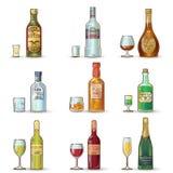 Alcohol Bottles Decorative Icons Set Stock Photo