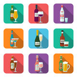 Alcohol bottles and glasses icons set Stock Image