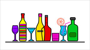 Alcohol bottles and glasses Stock Image