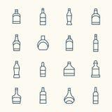 Alcohol bottles icon set Stock Photography