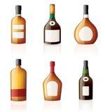 Alcohol bottles Icons Set Stock Photography