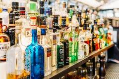 Alcohol Bottles On Restaurant Drink Bar. LISBON, PORTUGAL - AUGUST 11, 2017: Alcohol Bottles On Restaurant Drink Bar royalty free stock photos